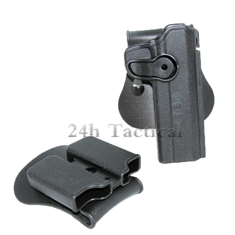 Tactical IMI Type Gun Holster for Colt 1911 RH Right Hand Airsoft Pistol Holster With Double Magazine Paddle Waist Belt Holster image