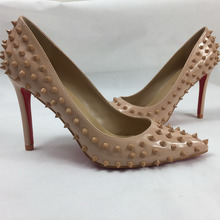 classic women's pumps pointed toe patent  red bottom sole rivets high heels lady shoes nude New fashion party lady pumps