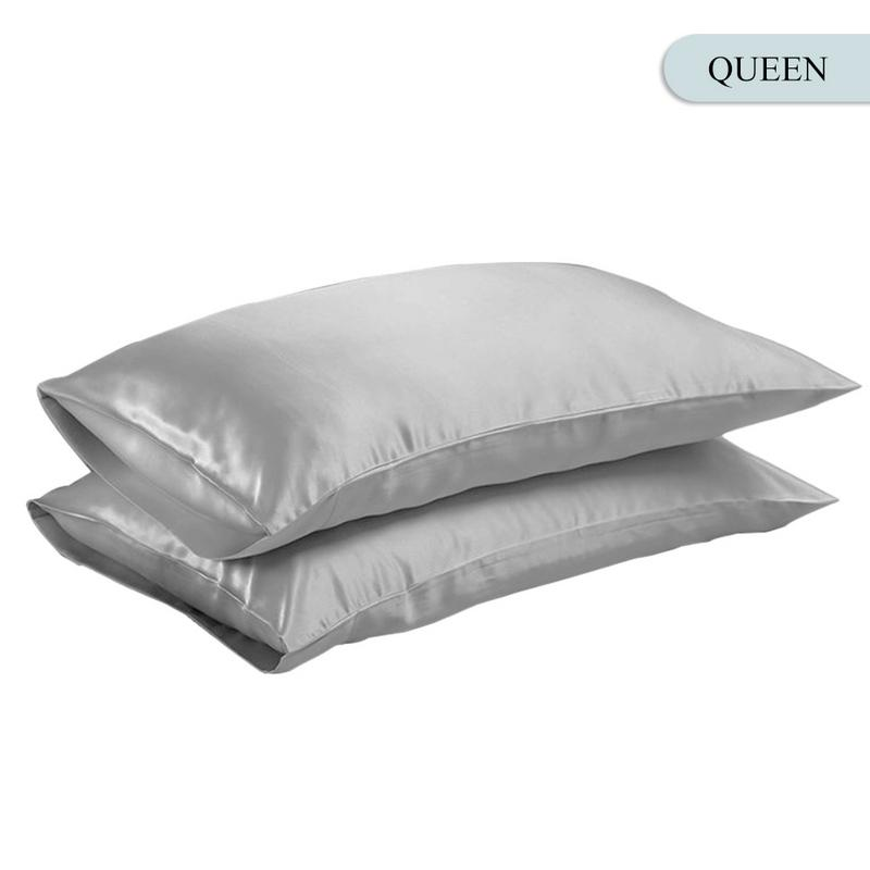 Queen/KING Silk Satin Pillow Case Bedding Pillowcase Smooth Home White Black Grey Khaki Sky Blue Pink Sliver 7