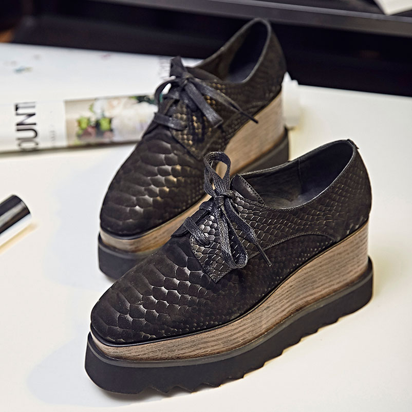 2016 women creepers platform shoes woman lace up creeper