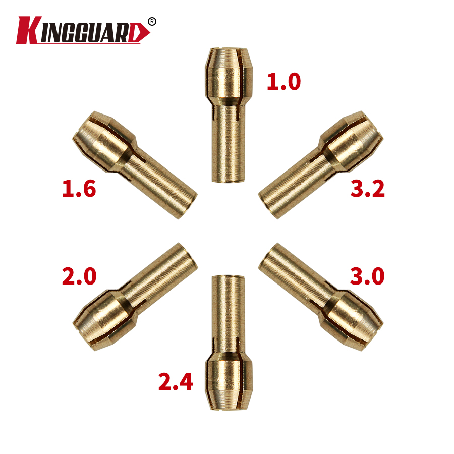 KINGGUARD 1.0/1.6//2.0/2.4/3.0/3.2mm 6 Pieces Mini Drill Brass Collet Chuck for Dremel Rotary Tool Including dremel accessories