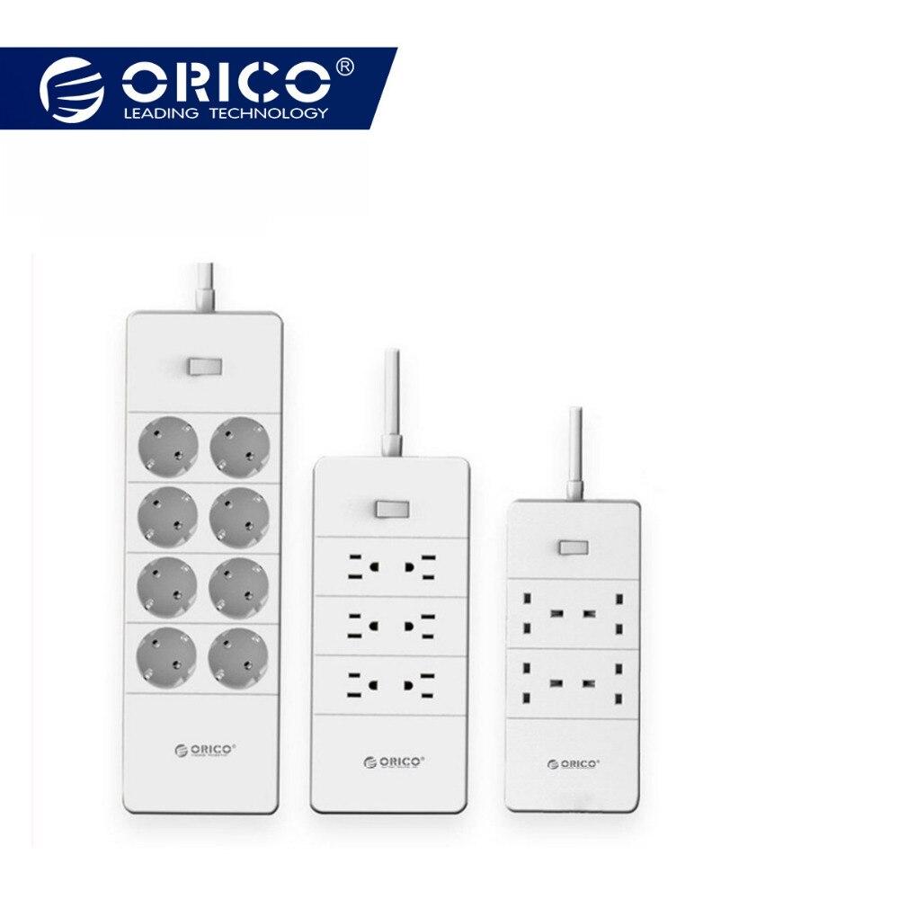 ORICO HPC-V1 USB EU Reino Unido nos enchufe eléctrico sobrecarga interruptor de protección de 4 6 8 tomacorrientes de CA 5 puertos USB 2.4A de potencia inteligente de
