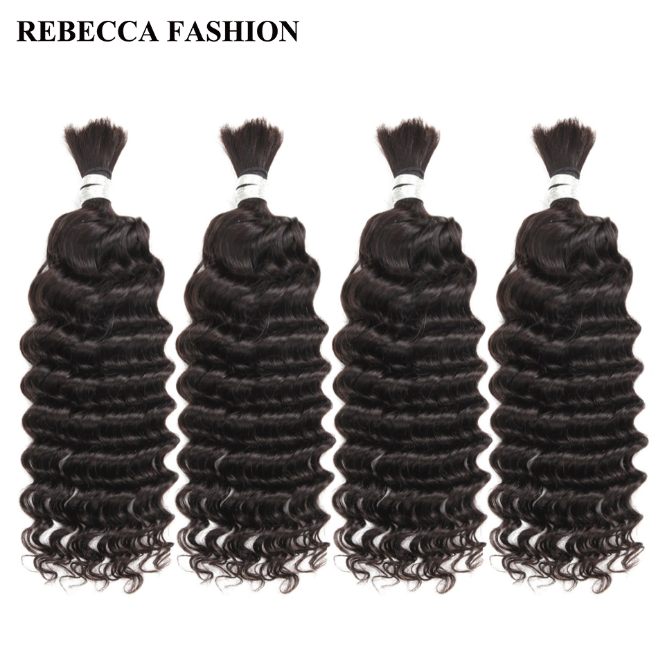 Rebecca 4 Bundles Deals Human Braiding Hair Bulk Braiding Remy Indian Deep Wave Hair Extension Crochet