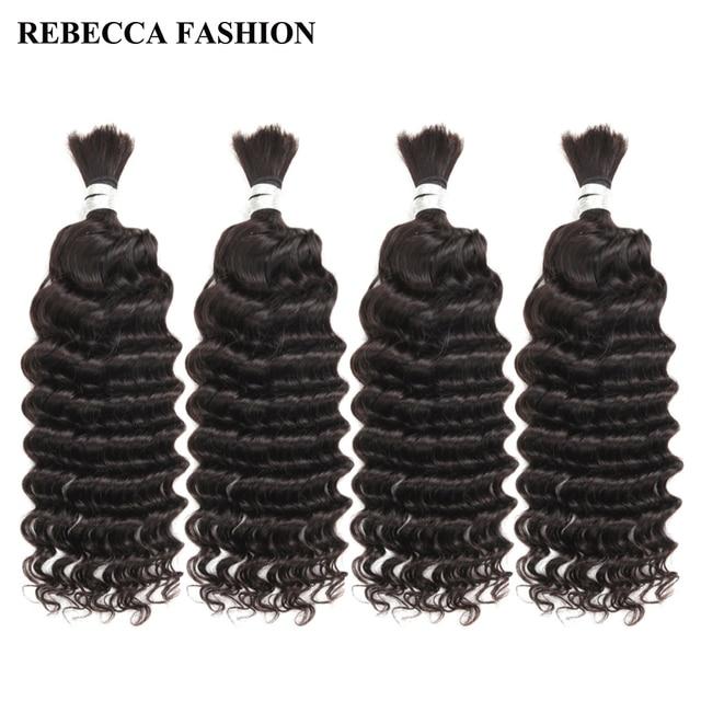 Rebecca 4 Bundles Deals Human Braiding Hair Bulk Braiding Remy Indian Deep Wave Hair Extension Crochet Free Shipping