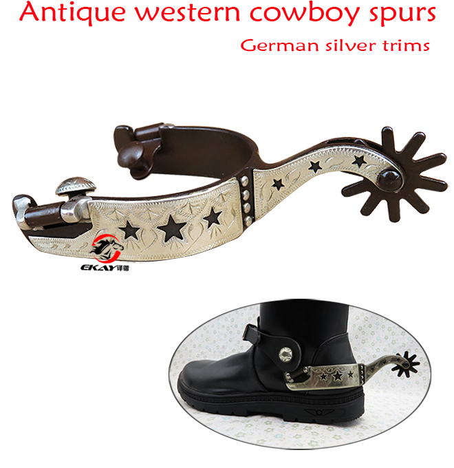 QIND Western Antique Spur 1pair Racing Horse Riding Durable Cutout for Men GS Trims Hand Engraved Stars Equestrian Equipment Ornaments Low Carbon Steel Outdoor Sports