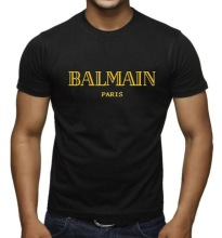 spoolu Balmain Paris T Shirt Letter T-Shirt Cotton Short Sleeve for Men  Summer Casual