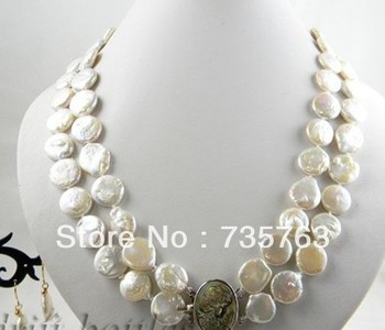 xiuli 00169 2strands 14mm white coin freshwater pearl earring necklace Set