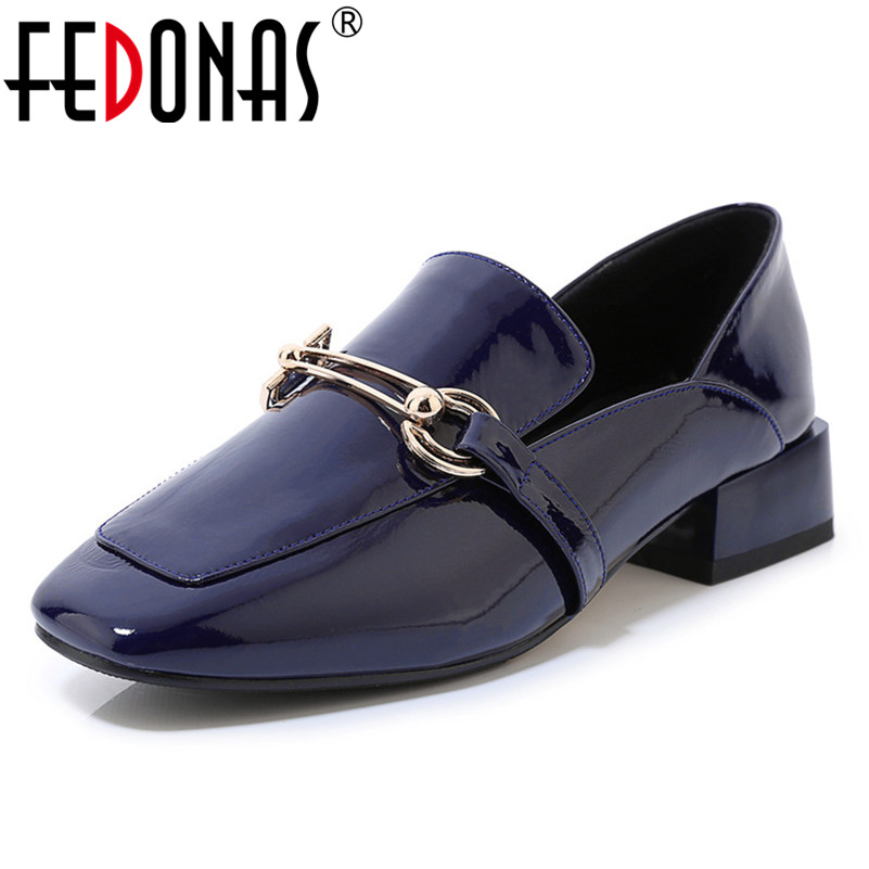 FEDONAS prawdziwej skóra bydlęca kobiety klasyczne pompy metalowe kwadratowe Toe Med obcasy buty kobieta wiosna jesień podstawowe na co dzień buty damskie w Buty damskie na słupku od Buty na  Grupa 1