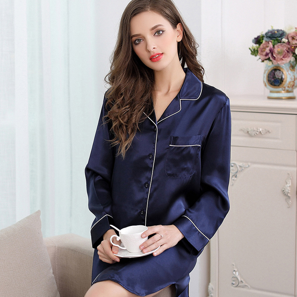 Pure Color 100% Silk Nightgowns Women Noble Silk Nightshirts High Quality Sexy Long-sleeved Women Silk Nightwear Femme