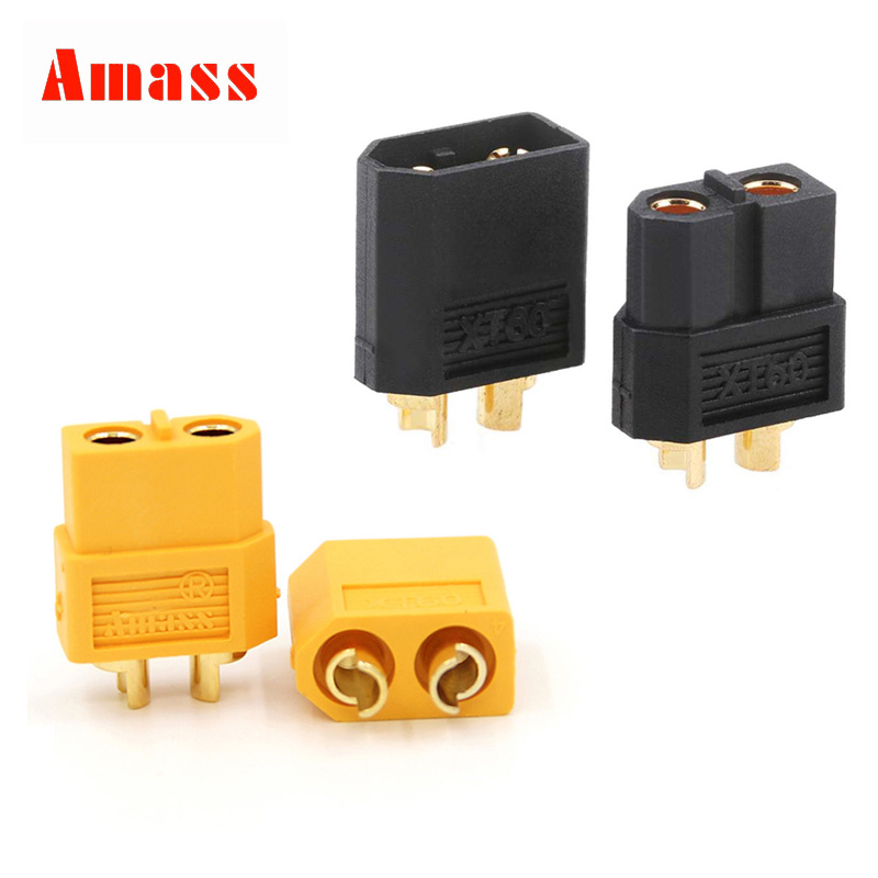 10PCS AMASS  XT60 XT-60 XT60 Male Female Bullet Connectors Plugs Black Yellow For RC Lipo Battery 5Pairs Quadcopter Helicopter