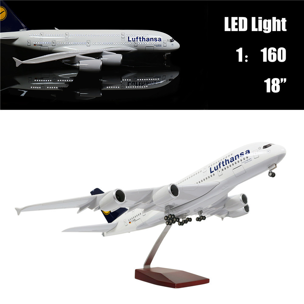 46cm 1:160 Diecast Airplane Model Lufthansa A380 with LED Light(Touch or Sound Control) Plane for Decoration or Gift