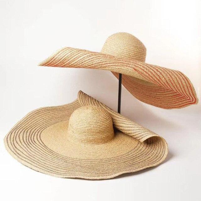 Women Natural 25cm OVERSIZED Floppy Raffia Hat Beige Red Navy Striped Giant Straw Hat Big Wide Brim Hat Summer Sun Beach Hat Cap 1