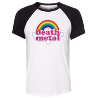 IDzn Unisex Summer Classic T Shirt Death Metal Music Heavy Unicorn Rainbow Art Pattern Raglan Short