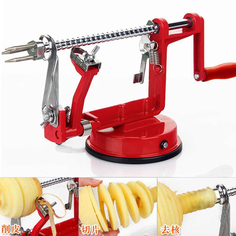 1 zestaw 3in1 owoce narzędzia do jabłek Slinky obierak do owoców krajalnica przybory kuchenne maszyna do obierania jabłek (00153)