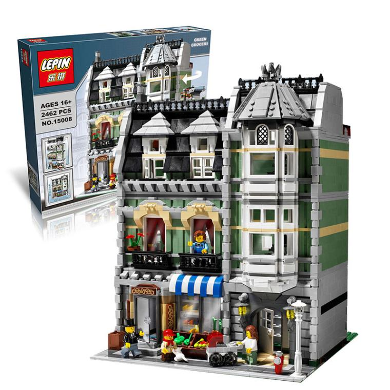 CX 15008 2462Pcs Model building kits Compatible with Lego 10185 City Street Green Grocer 3D Bricks figure toys for children dhl lepin15008 2462pcs city street green grocer model building kits blocks bricks compatible educational toy 10185 children gift