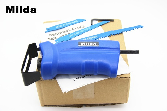Milda 2018 new power tool accessories Reciprocating saw Metal Cutting wood Cutting Tool electric drill attachment with 3 blades 4