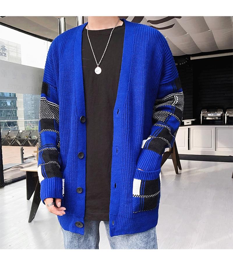 Korean Oversized Sweater Cardigan Men Plaid (30)