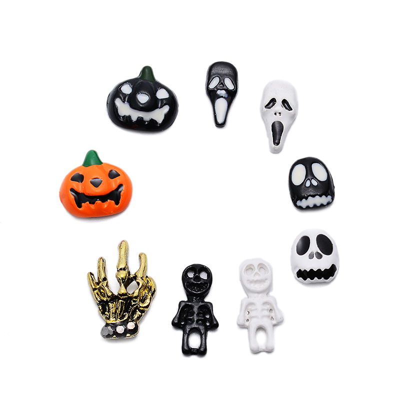 9Pcs/Lot Charms Glitter Nails Art Rhinestones Alloy Nail Art Halloween Ghost Head Pumpkin Ghost Nail Ornament Horror Scream Stud