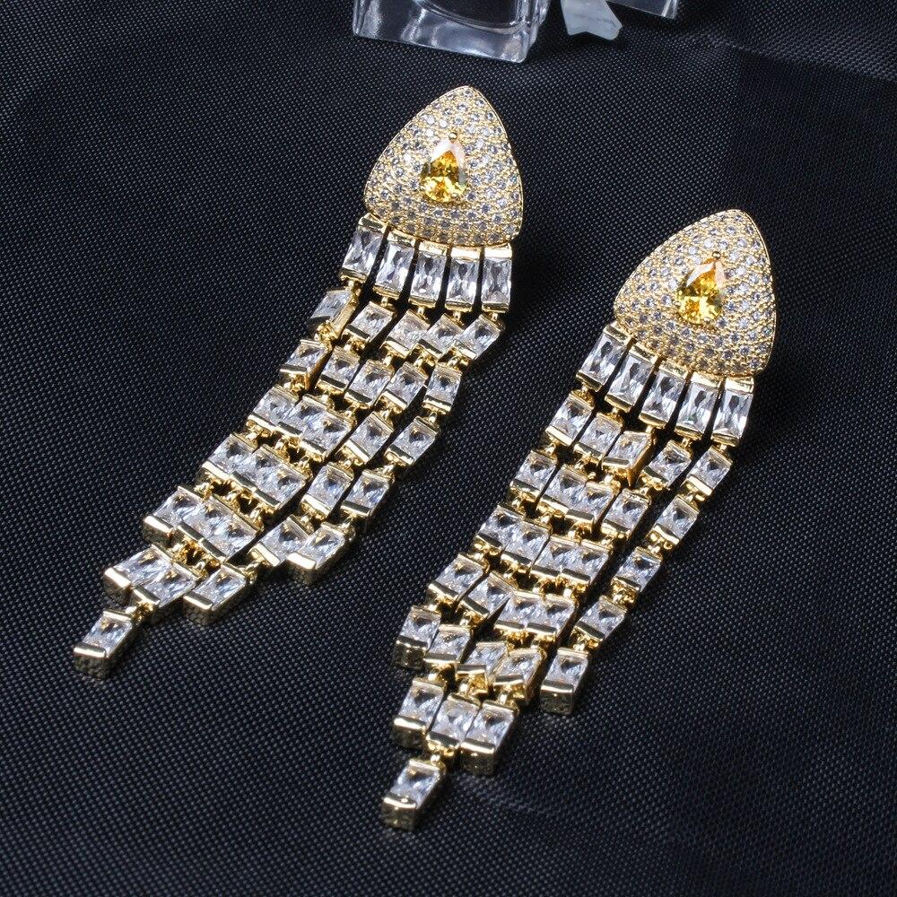 Luxury Geometric Tassel Drop Earrings for Women Colorful Crystal Zircon Earings Fashion Wedding Jewelry