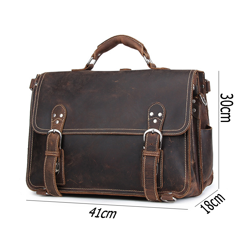 Capacity Brown Shoulder Multifunction Bags Big Horse 3 Genuine Briefcase Vintage Travel Handbag Men Use Laptop Leather Male Crazy TPx44vq