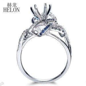 Image 5 - HELON 6.5mm جولة قص الصلبة 10 K الأبيض الذهب 0.6ct الياقوت و الماس الطبيعي شبه جبل خاتم الخطوبة الزفاف الأحجار الكريمة والمجوهرات