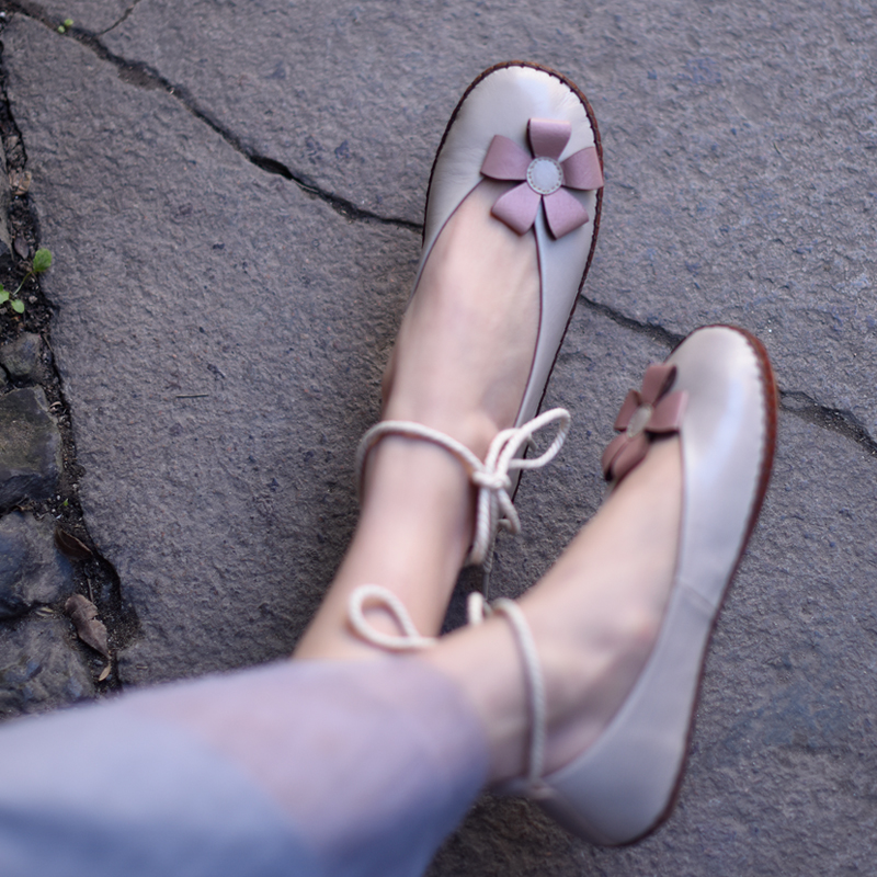 Handmade sapatos baixos mulher ballet flats mulheres sapatos de couro genuíno casuais cabeça redonda com tira no tornozelo sapatos femininos em preto e branco - 5