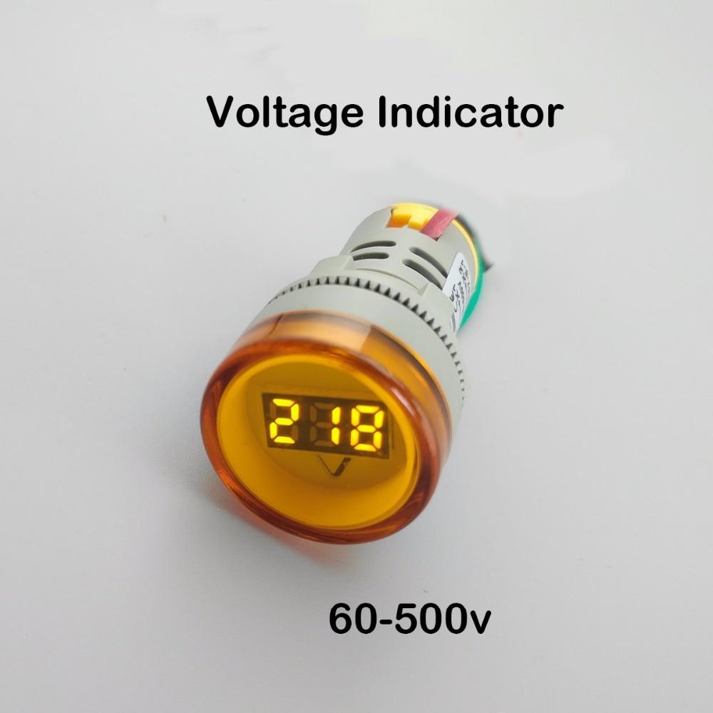 22MM TOMZN AC 60-500V LED Voltmeter voltage meter indicator pilot light Red Yellow Green white Blue new red yellow green light lamp 22 mm led pilot display panel ac 220 v 3 pcs