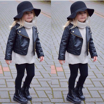 ARLONEET 2018 New Fashion Spring and Autumn and the Wind PU Leather Leather Coat Baby Boys and Girls Short Children Jacket L0924