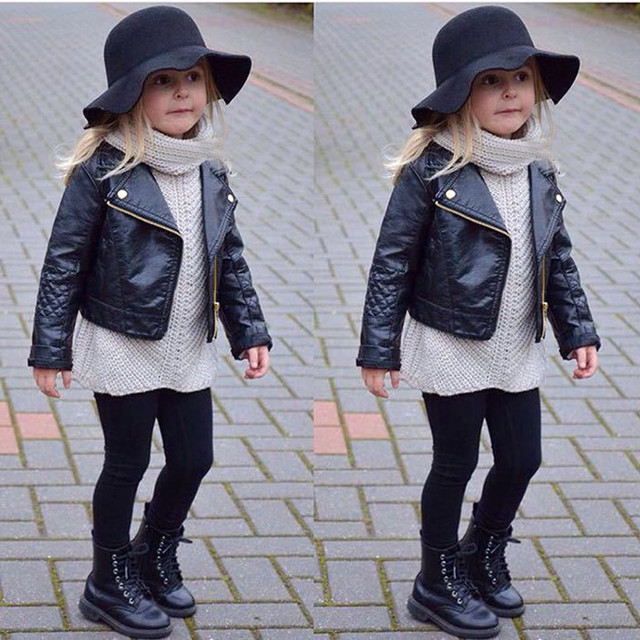 ARLONEET 2018 New Fashion Spring and Autumn and the Wind PU Leather Leather Coat Baby Boys and Girls Short Children Jacket g0509