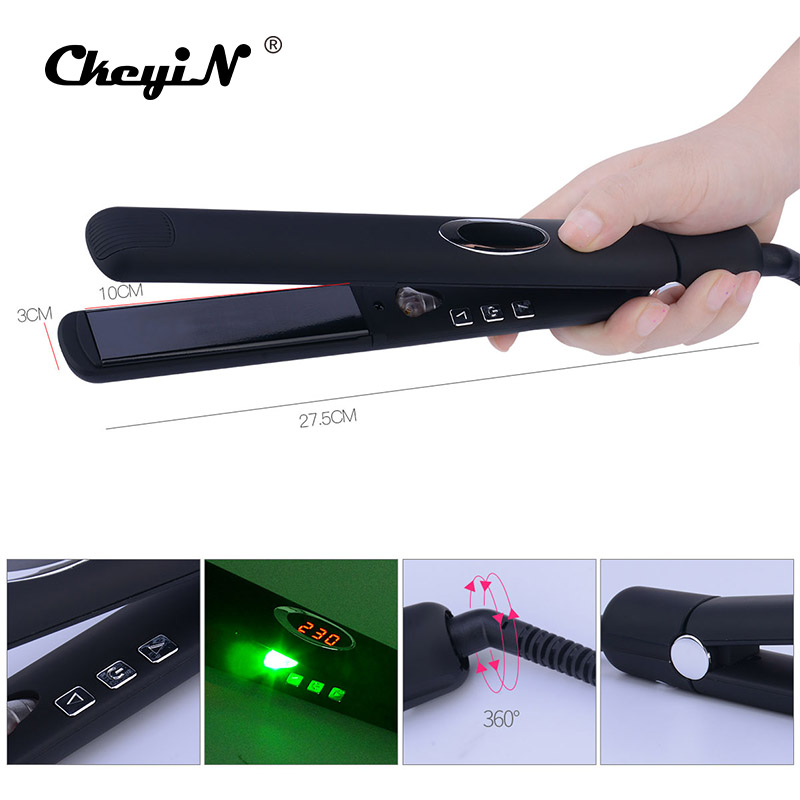 CkeyiN LED Digital Infrared Hair Care Iron Temperature Control 3D Floating Ceramic Hair Straightener Negative Ions Straightening mch flexible 3d floating ceramic wide plates flat iron far infrared hair straightener straightening curling with negative ions