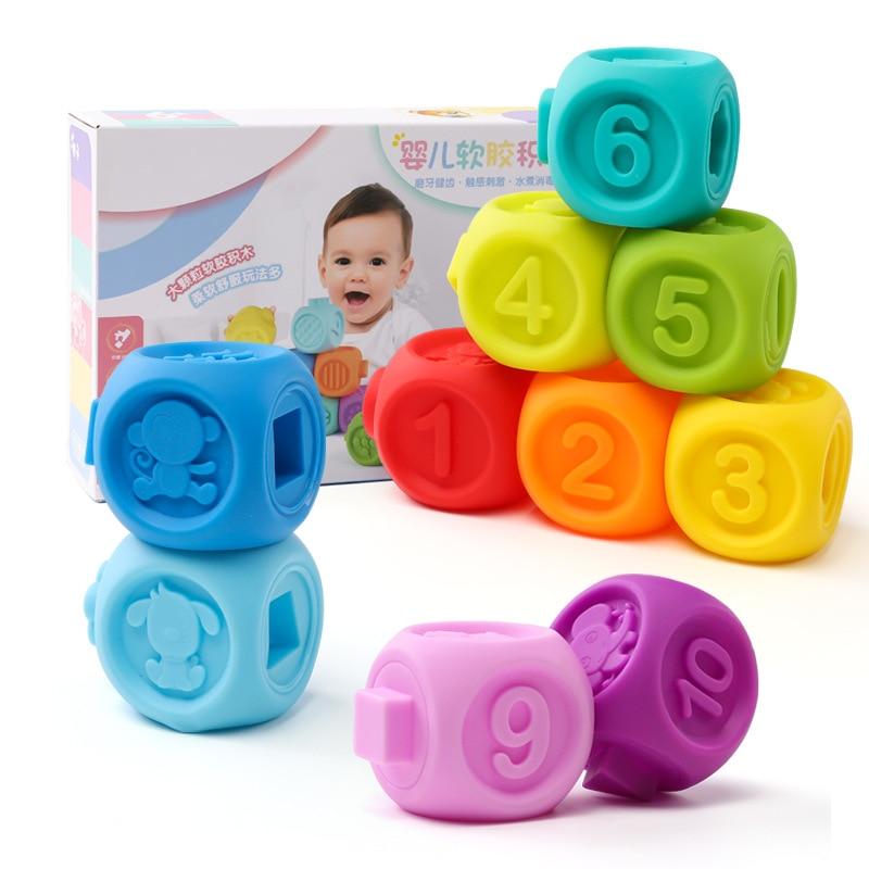 Bébé bambin jouets dentition gros Cube de particules colle souple anneau de dentition qui peut mordre Puzzles jouet rongeur Mordedor jouets bébés 24 mois