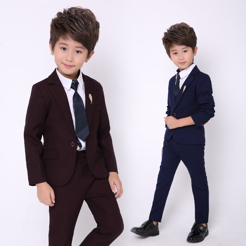 2018 Boys Wedding Suit England Style Gentle Boys Formal Tuxedos Suit Jacket + Pants + Shirts + Tie 4Pcs Set H39