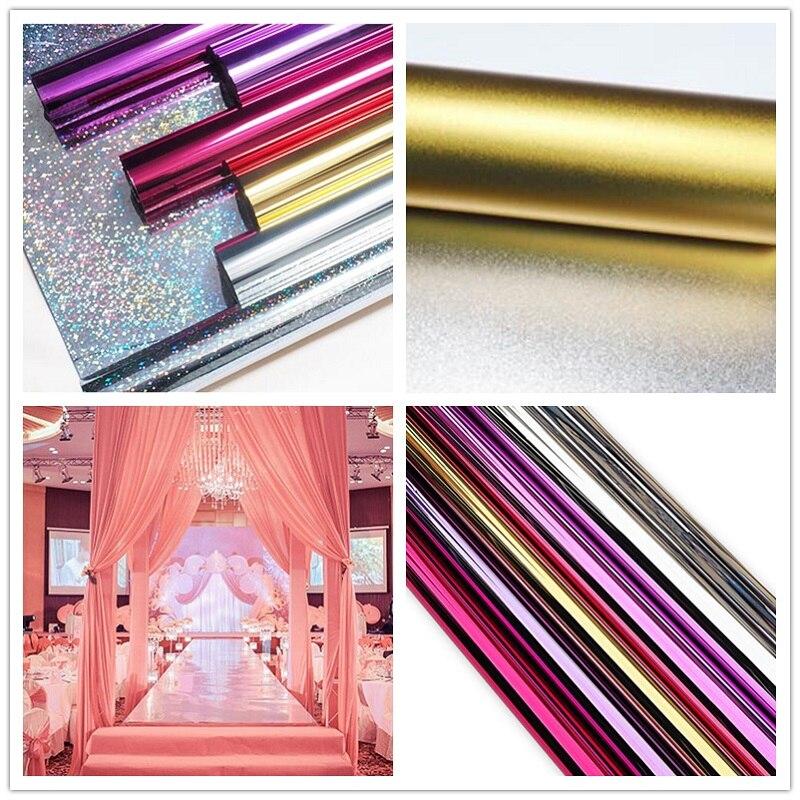 1 M largeur (20 M/lot) 0.12 épaisseur or + argent visage mariage miroir tapis coureur événements partie étage décoration fournitures ZA3564