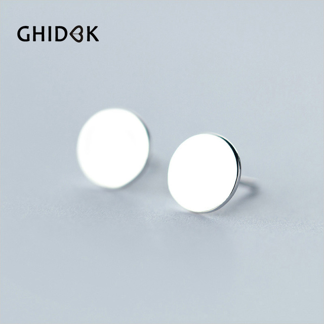 Ghidbk Simple Style 925 Sterling Sliver Round Shape Ear Studs Smooth Geometric Stud Earrings Coin Disc
