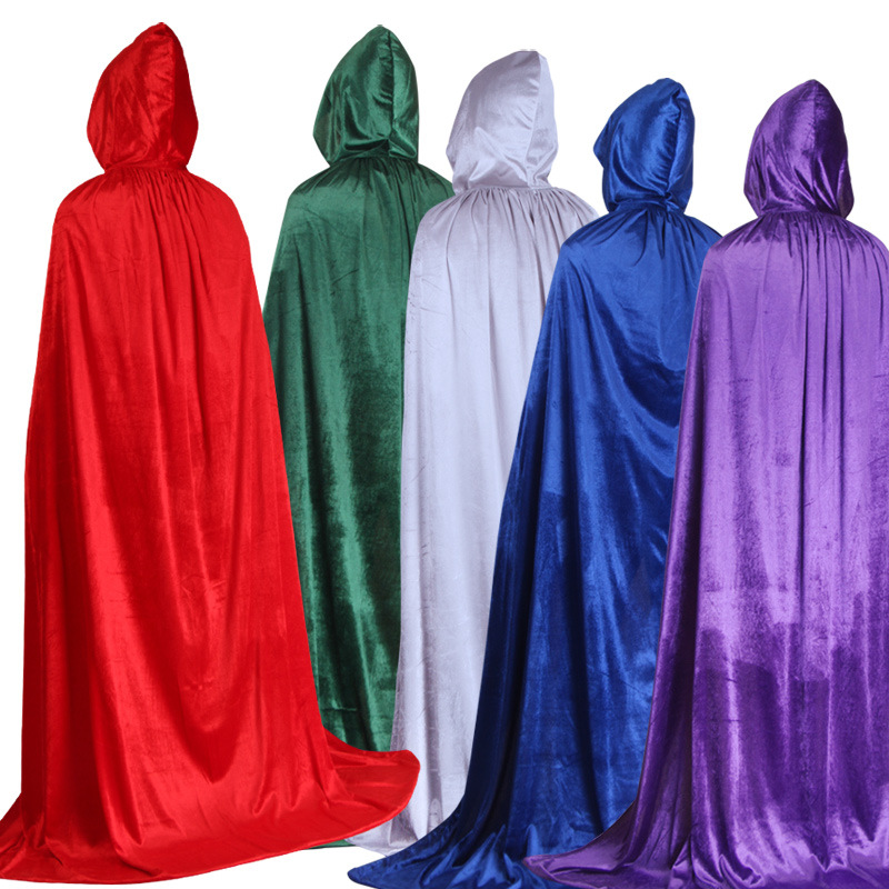 Adults Children Halloween Cosplay Cloak Costume Witch Wizard Trench Cloak Solid Color Velvet Party Clothing Accessories Gifts