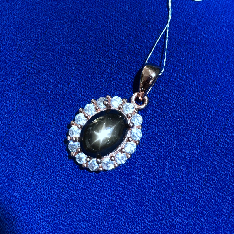 Uloveido naturel Starlight saphir pendentif collier femmes, 925 Sterling argent pierre gemme Fine collier pendentif pour les filles FN334