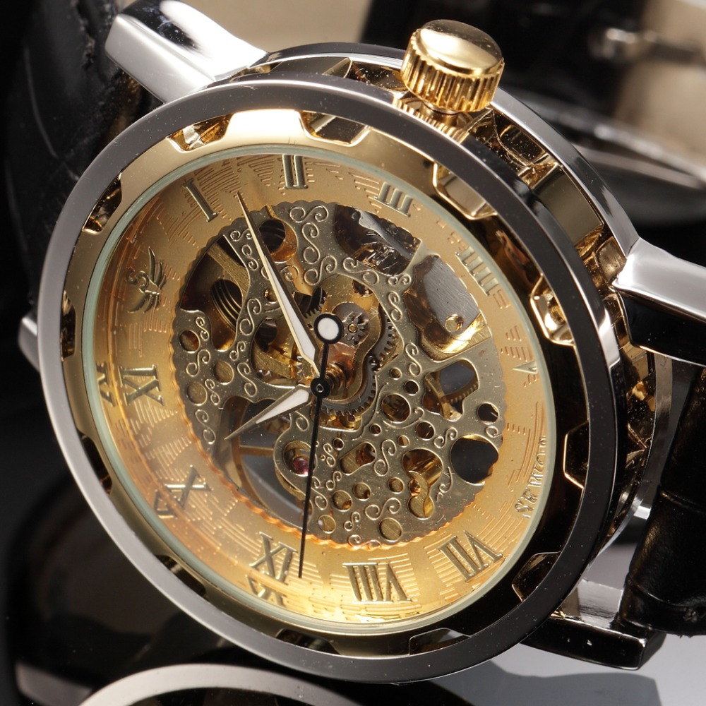 Sewor BRAND Hollow Skeleton Wristwatch Fashion Casual Mechanical Hand Wind Watch Man Clock Luxury Male Business Leather Relogio цена и фото