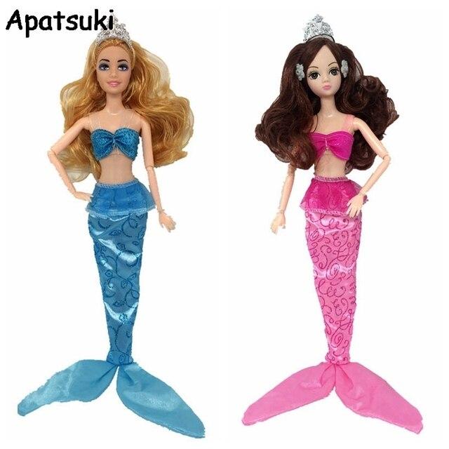 the latest 250b8 5171e US $1.95 30% di SCONTO|Sexy Cosplay Costume Mare Principessa Sirena Vestiti  Per Barbie Doll 1/6 Bra & Long Tail Gonne Per 1/6 della Bambola BJD ...