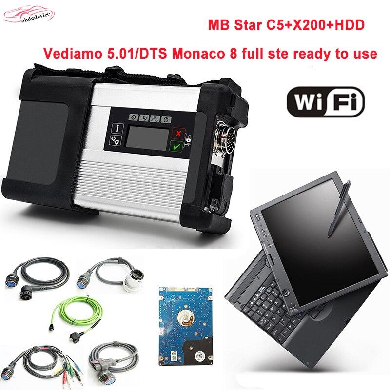 Лучше сделаны MB Star C5 с 2018.3 новейшее программное обеспечение HDD режим в X200 Ноутбук SD подключения C5 сканер диагностики авто хорошее качество DHL