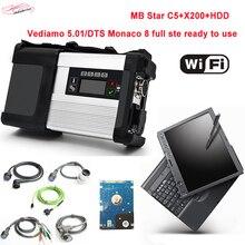 Melhor Feito mb estrela c5 com 2018.9 HDD mais recente software em x200 laptop sd conectar c5 diagnóstico auto scanner de alta qualidade DHL livre