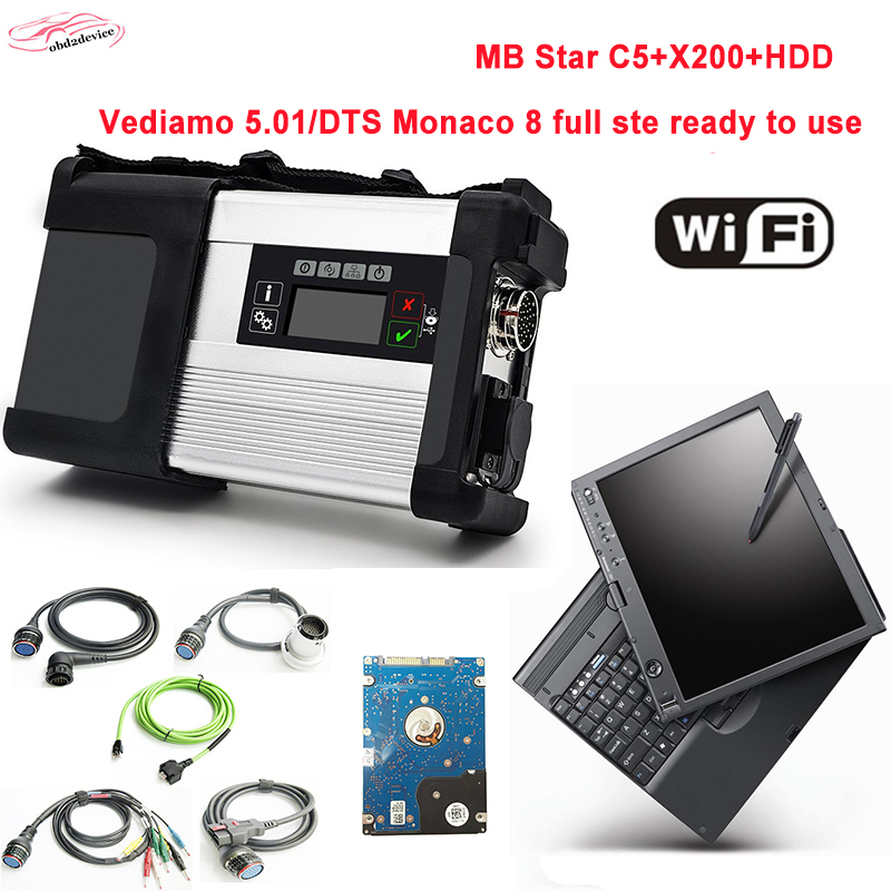 better made mb star c5 with 2018.3 newest software HDD mode in x200 laptop sd connect c5 auto diagnosis scanner good quality DHL lem htr200 sb sp1 used in good condition with free dhl ems