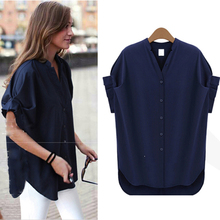 women blouses summer 2018 Casual Stand Collar Short Sleeve Solid Chiffon Blouse Women Clothes Lady Shirts Blusas Plus Size L-5XL