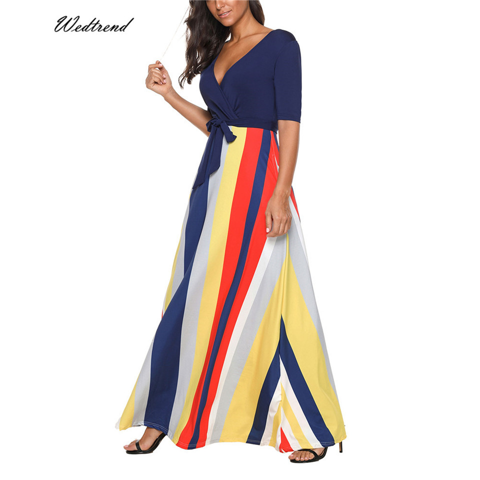 Wedtrend 2018 New Arrival Sexy Women Dress V Neck Striped Print Maxi Long Dress Half Sleeve Summer Casual Beach Dresses