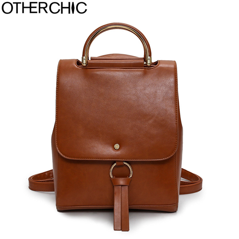 OTHERCHIC Quality Fashion Women Backpacks Tassel Vintage Top Handle Leather Backpacks Teenage Girls Travel Backpacks L