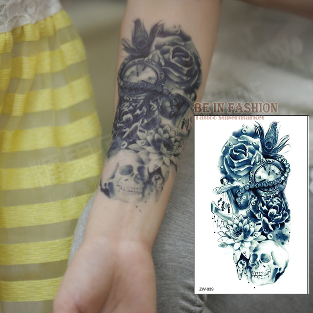 One Piece Trendy Temporary Tattoo Flower Rose Clock Jewel Death Pirate Skull Tattoos Stickers For Lower Arm Body Art Men QS-C039