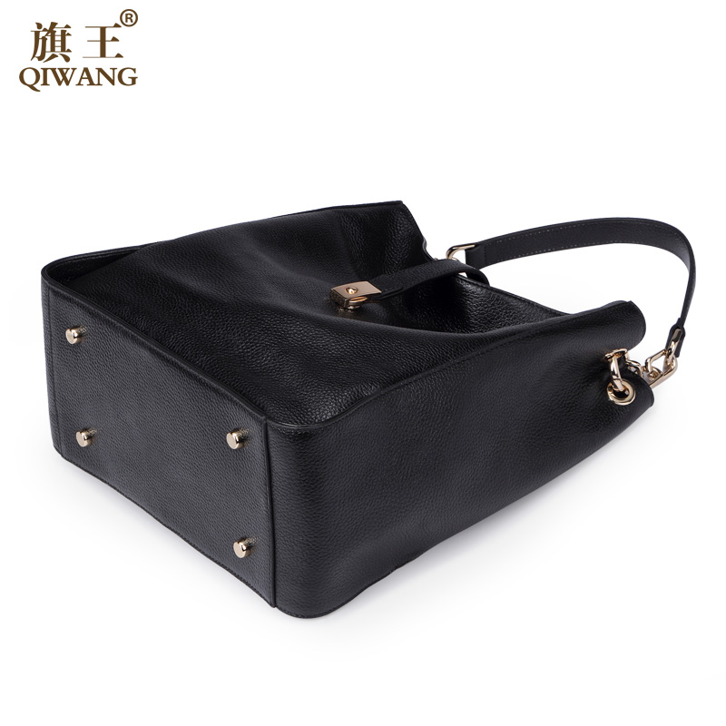 1142cb6f214c Qiwang Brand Genuine Leather Women Black Hobo Bag Women Designer Leather  Handbag Real Leather Bucket Bag Chain Purse Amazon Sale-in Shoulder Bags  from ...
