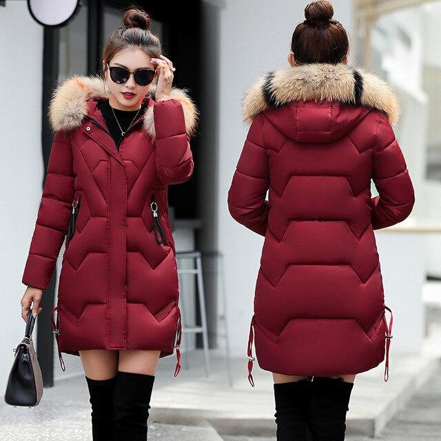 למטה מעילי נשים מעיילי חורף ארוך סיני מעיל לנשים חורף ארוך מעיל Jaquetas פרווה צווארון מעיילי Mujer קל במיוחד למטה