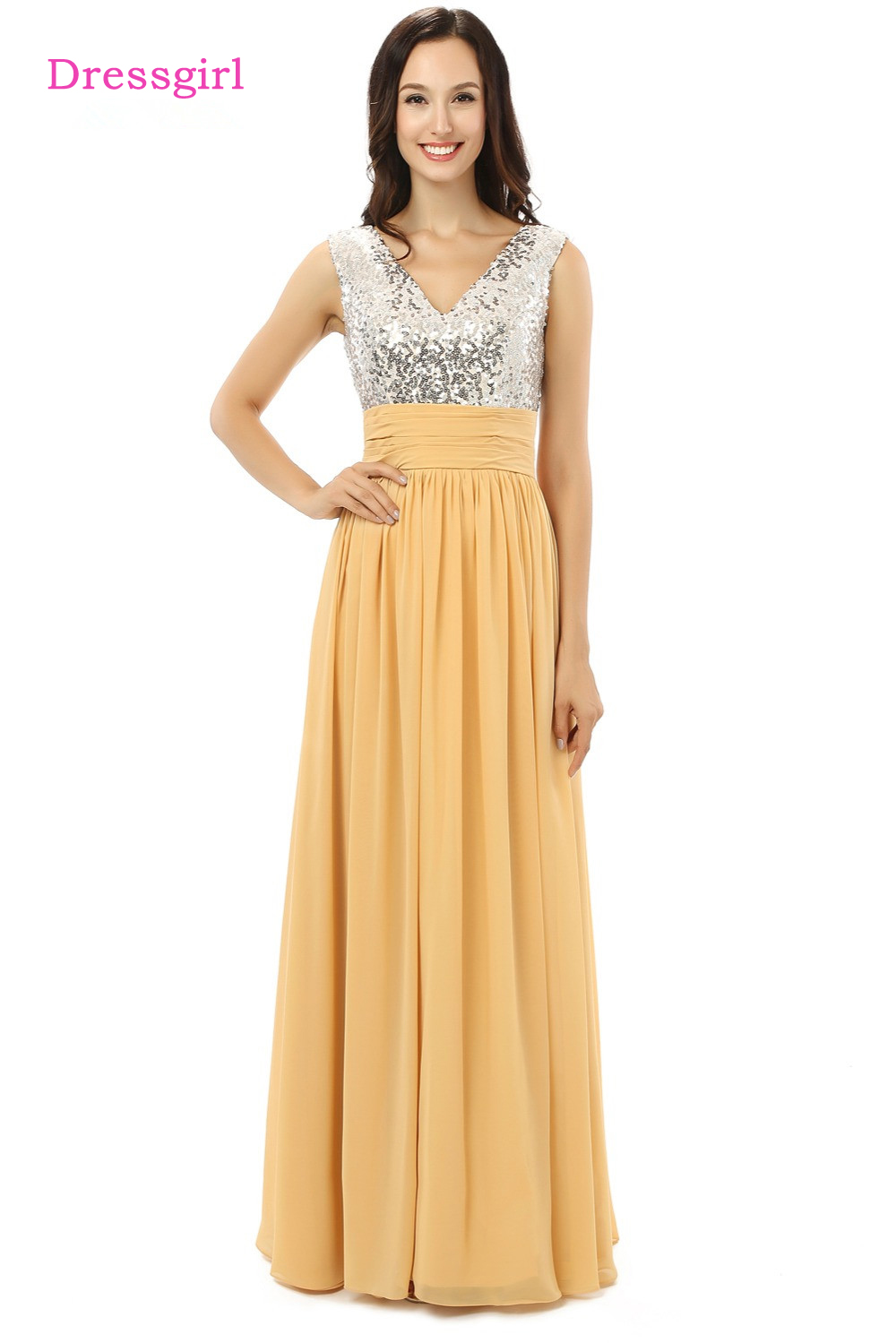 Hot Hot Elegant Evening Dresses 2018 A-line V-neck Gold Chiffon Squins Long Evening Gown Prom Dress Prom Gown