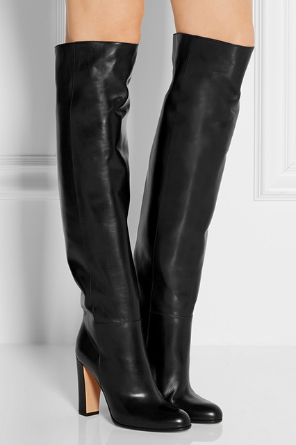 Office Ladies Popular Black Leather Knee High Boots Thick -7729
