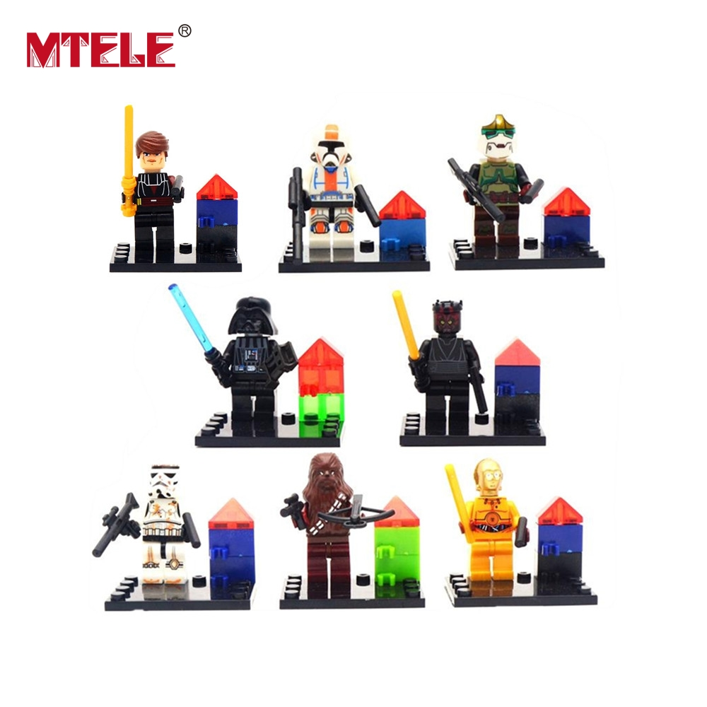 MTELE 8 Pcs/lot Star Wars Jedi Baby Figure Building Blocks Model Figures For Kids Chrismas Gift Compatible With Lego